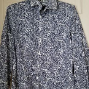 Talbots Blue & White Paisley Womens blouse 10